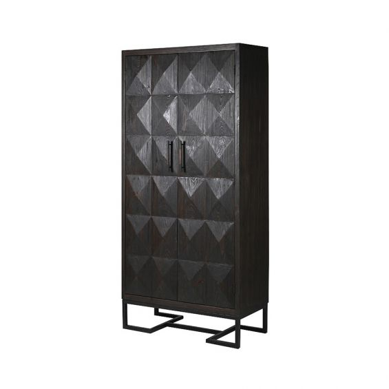 charcoal cabinet with diamond detailing and bronze accents