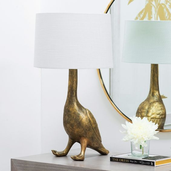 Decorative, antique gold goose design table lamp with white shade