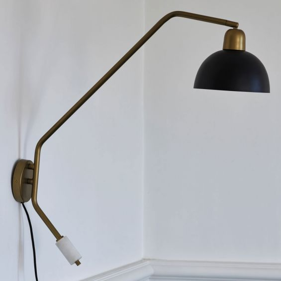 vintage brass-effect wall lamp with a modern twist