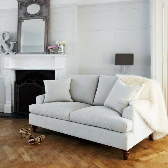 Stylish, square luxury sofa with 2 scatter cushions, upholstered in grey luxury linen