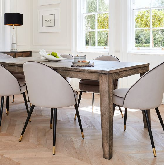 Hampstead Table in Antique Grey Oak Unextended