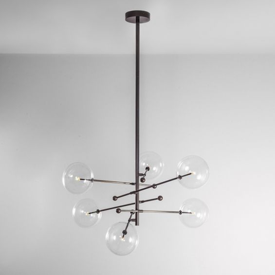 Retro industrial style 6 arm chandelier in gunmetal black finish with 6 clear glass globe bulbs