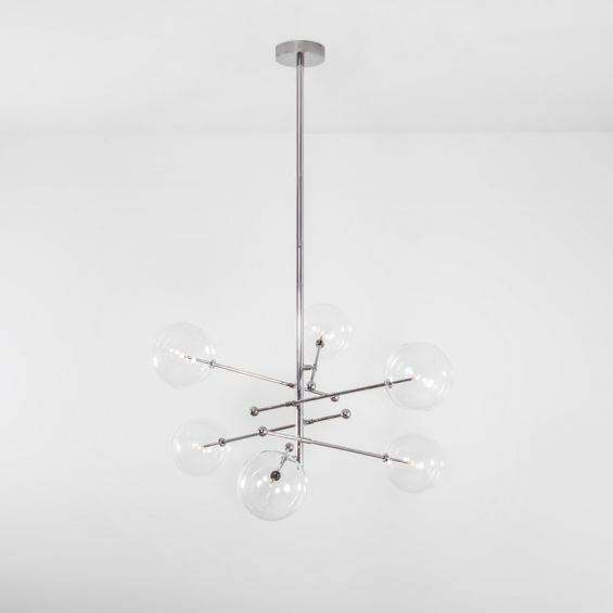 Industrial, retro style chandelier with 6 arm and glass globe accents