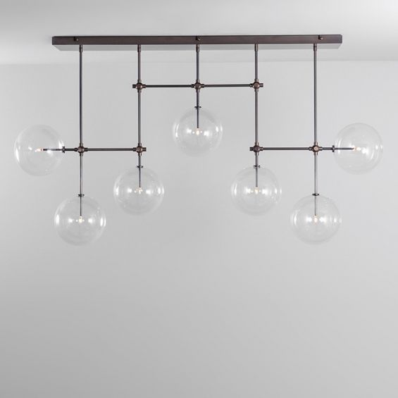 Black gunmetal industrial chandelier with multiple arms and clear glass globes
