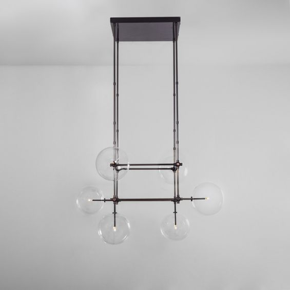 Black gunmetal finish chandelier with hanging clear glass globe design with extendable hanging rods