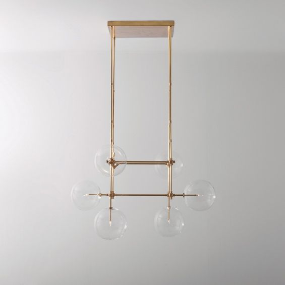 Natural brass finish industrial ceiling lamp with clear glass lampshade design