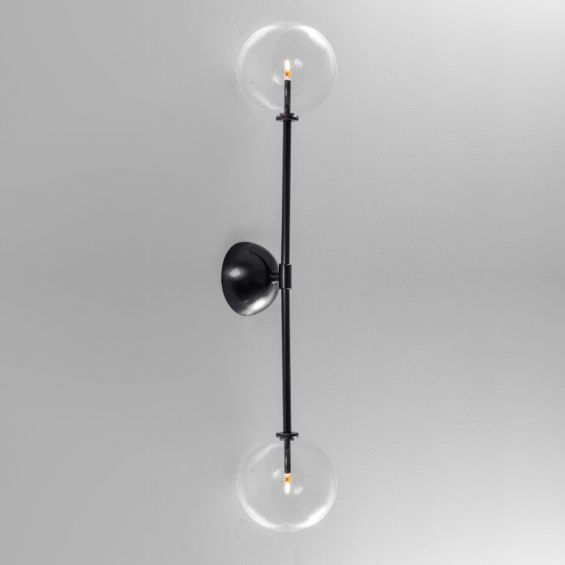 Retro black solid brass wall lamp with clear glass globe lampshades
