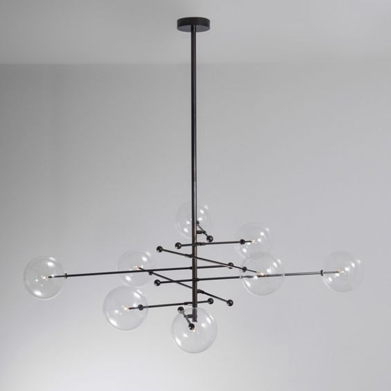 Black gunmetal finish retro/industrial chandelier with 8 arm fixture and 8 clear glass globes