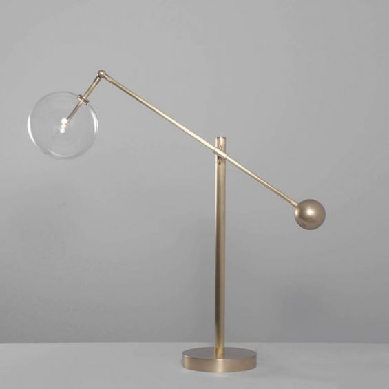 Industrial natural brass table lamp with clear glass globe lampshade