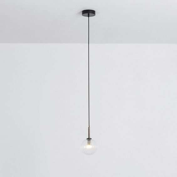 Textured clear glass globe pendant ceiling light with black brass fixture