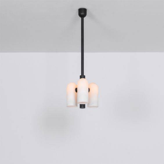 Contemporary retro style pendant ceiling light in a black gunmetal brass finish with translucent glass lampshade design