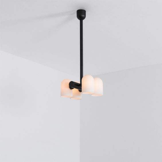 Industrial and modern style pendant ceiling lamp in a solid black brass finish
