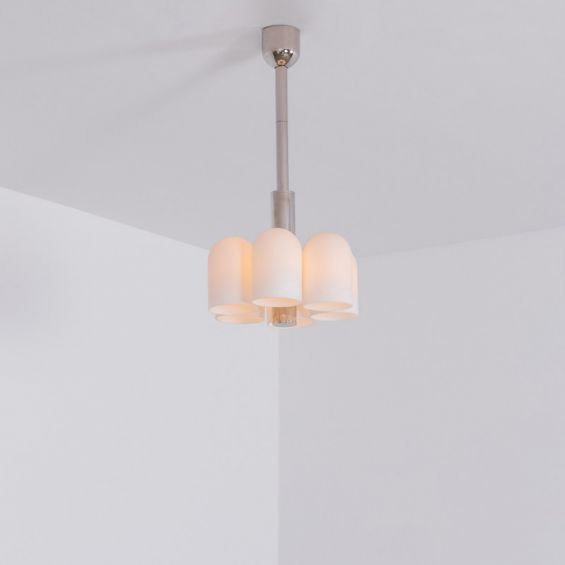 Contemporary polished nickel pendant ceiling light with six translucent glass lampshade design