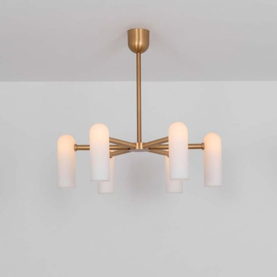 Glamorous retro chandelier with frosted glass lampshades and a solid, natural brass frame