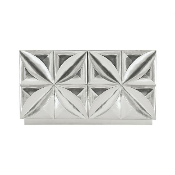 A mesmerising cabinet from Bernhardt featuring a nickel finish and two floral patterned doors