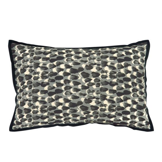artistic grey and white splodge patterned cushion