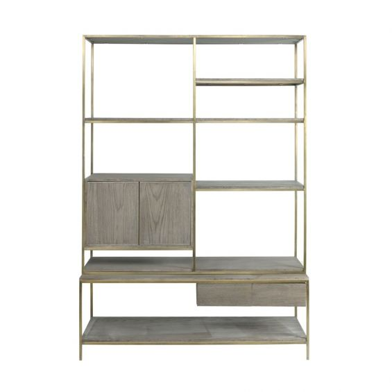 large natural oak and steel bookcase cabinet