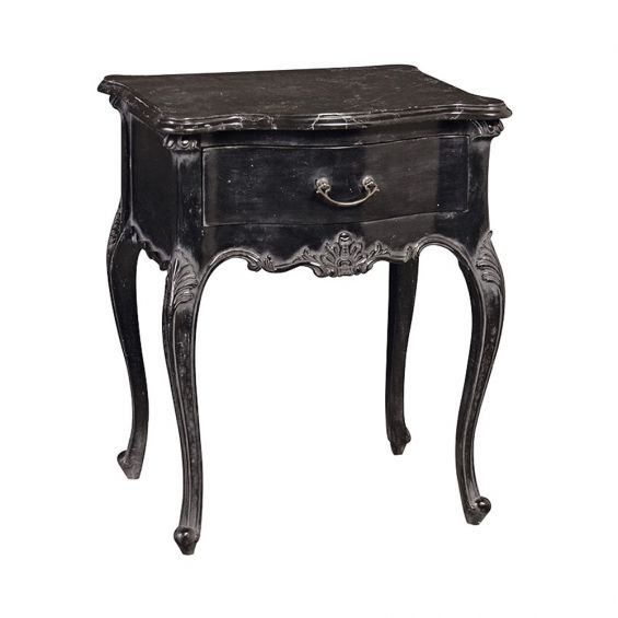 Black Rococo Side Table with Marble Top