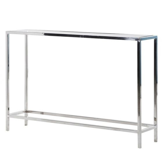 Slimline stainless steel and glass console table