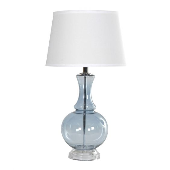 Blue glass table lamp with white silk shade