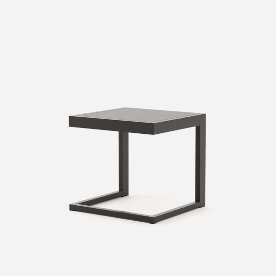 Dark brown laminate and steel contemporary side table