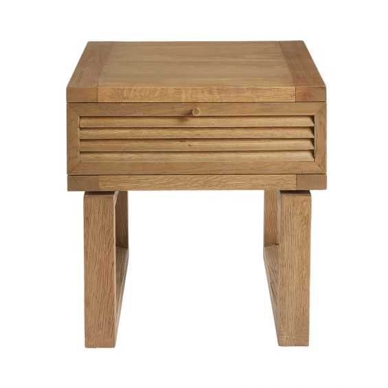 small natural oak side table with louvred drawer