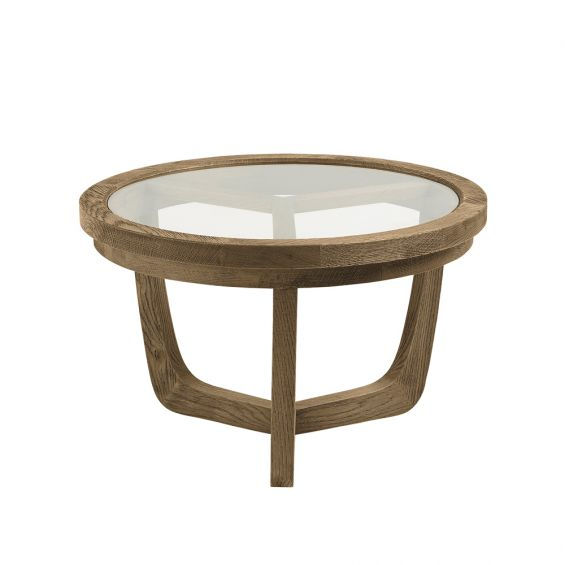 Natural solid oak side table with circular glass top
