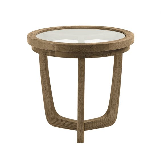 Circle, large, natural wood coffee table with glass table top