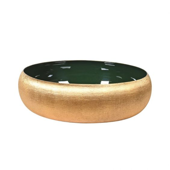 Round metallic gold bowl with glossy green interior