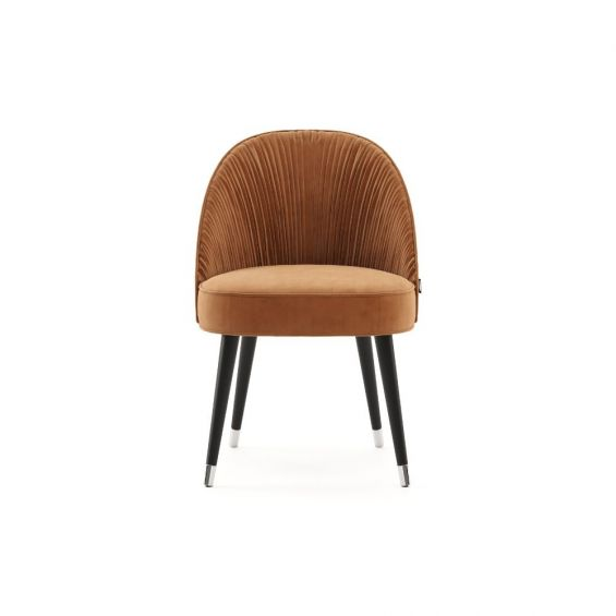 Elegant, modern luxury dining chair with back seat pleating, black legs and golden accents