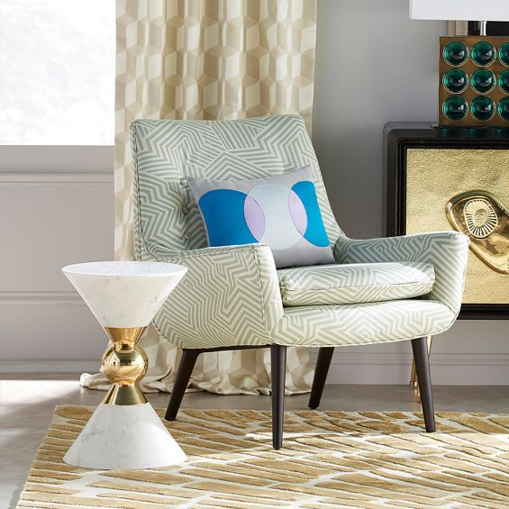 glamorous marble and brass accent table