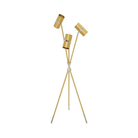 A luxurious polished brass and nickel task tripod lamp with a bowtie cuff and capped feet