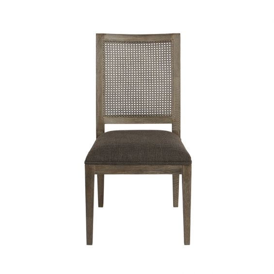 brown dining chair with caned back and padded polyester seat
