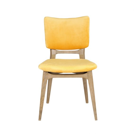 contemporary dining chair with yellow velvet upholstery