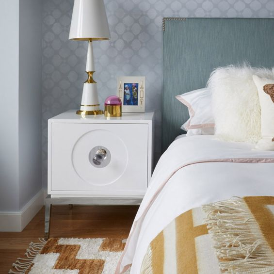 white lacquer side table with large door and acrylic handle