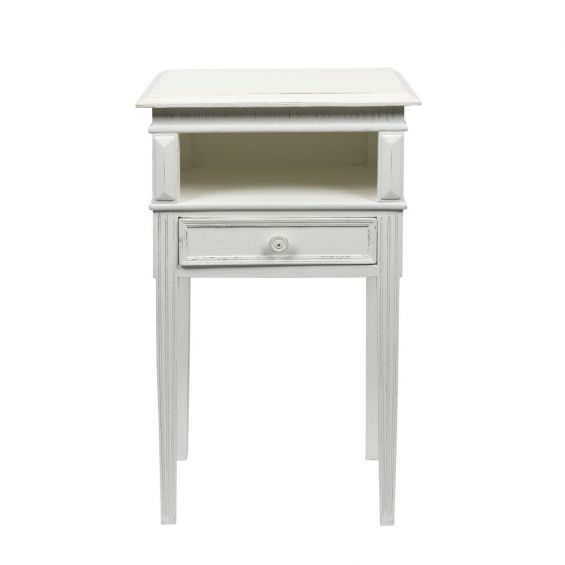 wooden french style white  bedside table