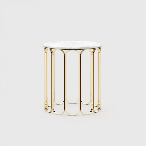 A luxurious modern side table with a golden base and marble tabletop
