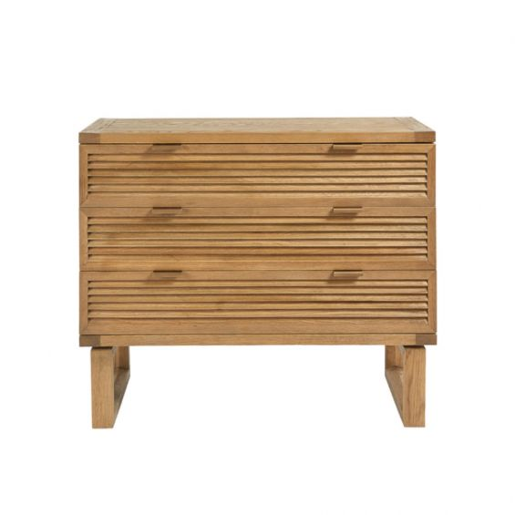 Natural oak, wooden 3 drawer chest of drawers