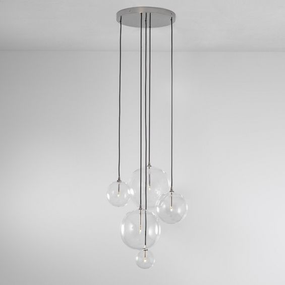 Polished nickel brass industrial chandelier with hanging glass globes