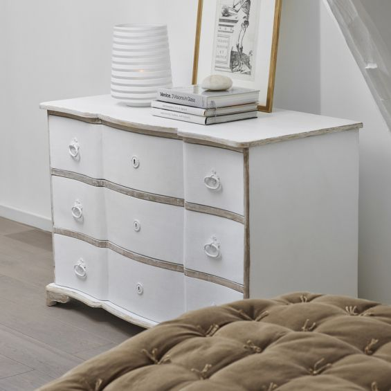 White wash and bleached wood French-style chest of drawers