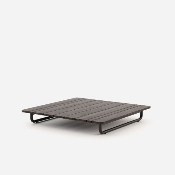 A luxurious laminate and steel coffee table in a rich, brown finish