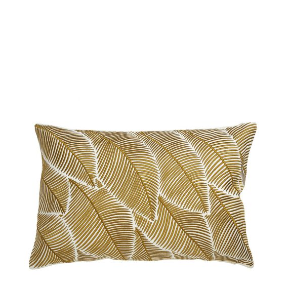 Natural, yellow and white plant print cushion