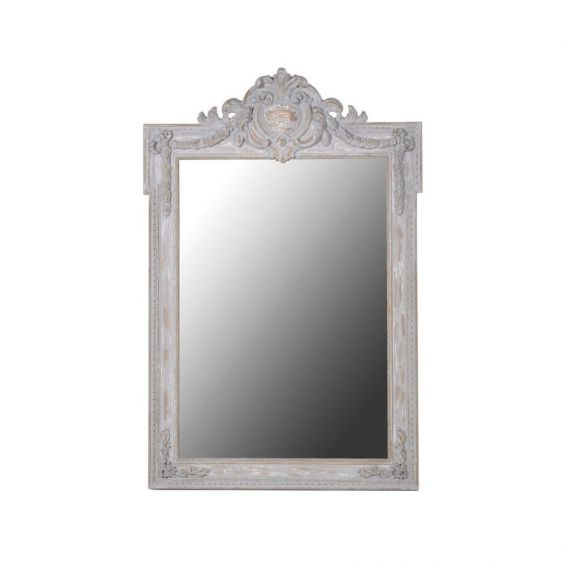 French, tall light grey crest top dressing/wall mirror