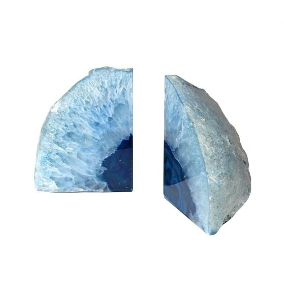 Crystal blue agate pair of bookends