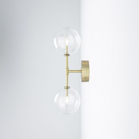 Natural brass industrial double wall lamp with clear glass globe design