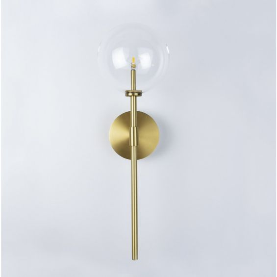 Contemporary natural brass wall lamp with large clear glass lampshade