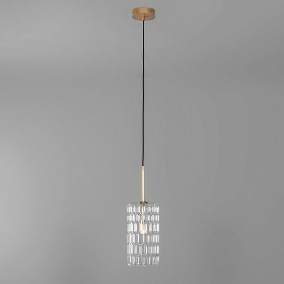 Solid brass ceiling pendant light with a detailed clear glass lampshade design