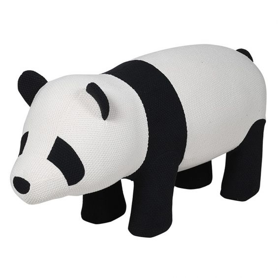 black and white knitted panda stool
