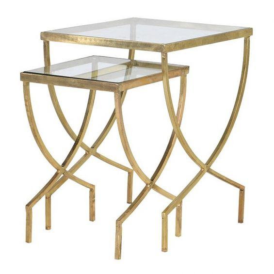 Glass and gold finish set of two side tables