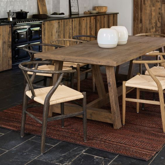 dark brown ash wood and paper twine dining chair